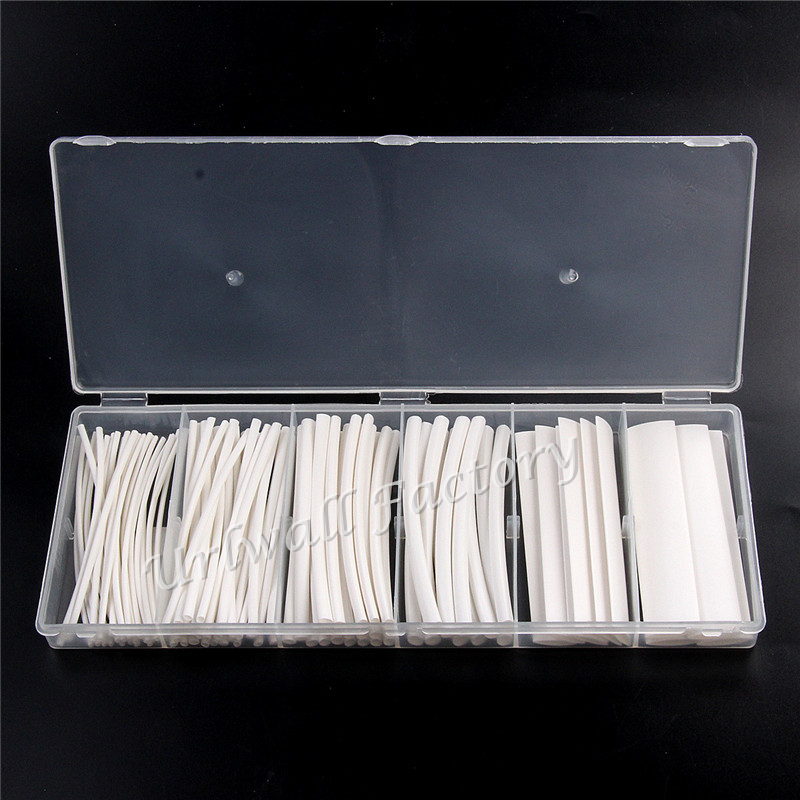 100pcs White Shrinkable Sleeving Tube Heat Shrink Tubing Polyolefin Ratio 2:1 Electrical Equipment Wrap 6 Sizes 55m pack insulation polyolefin ratio 2 1 heat shrink tubing 11 sizes 6 colour shrinkable tube sleeving set