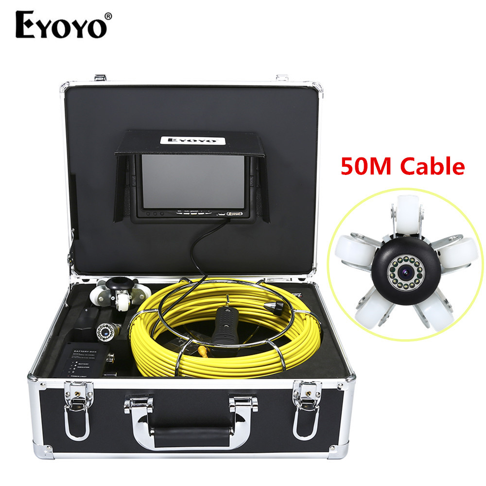 Eyoyo WF92 23mm 50M HD 7 TFT Monitor Sewer Pipe Pipeline Camera Drain Inspection Cam 12PCS White LEDS Waterproof dhl free wp90 50m industrial pipeline endoscope 6 5 17 23mm snake video camera 9 lcd sewer drain pipe inspection camera system