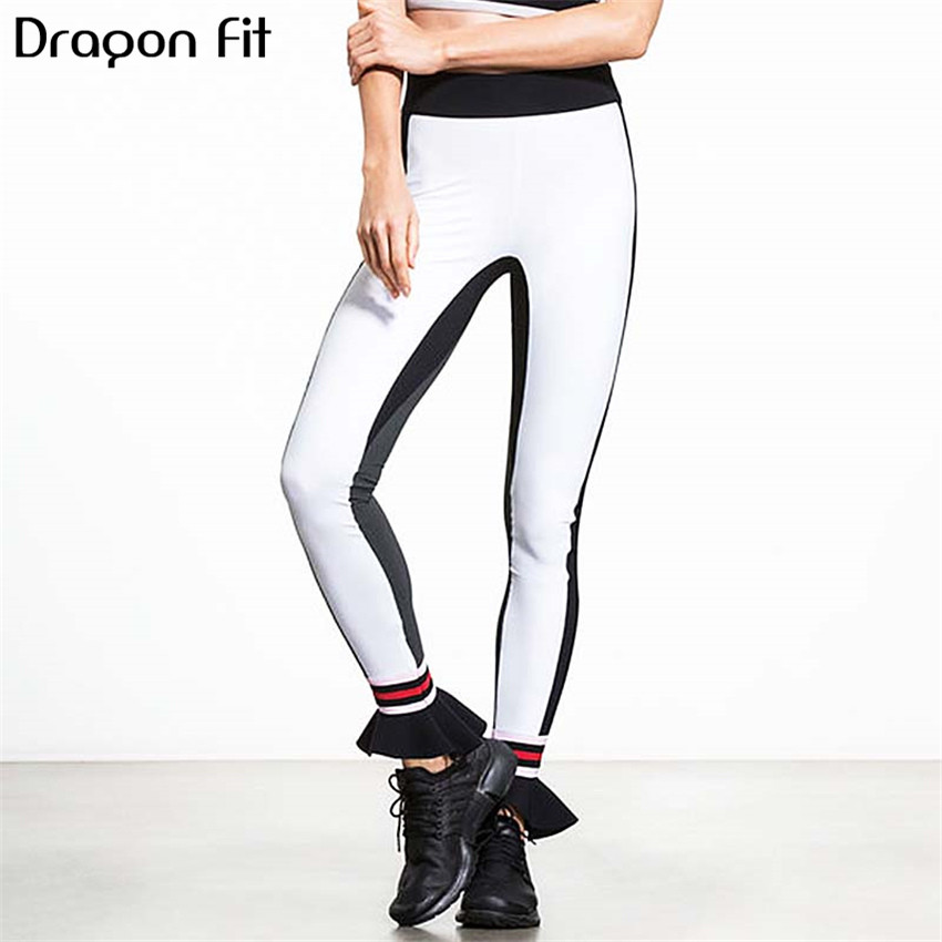 Dragon Fit 2018 New Stitching Ruffle Leggins Sport Women Fitness Sports Workout Yoga Leggings Running Workou Fitness Pants Women