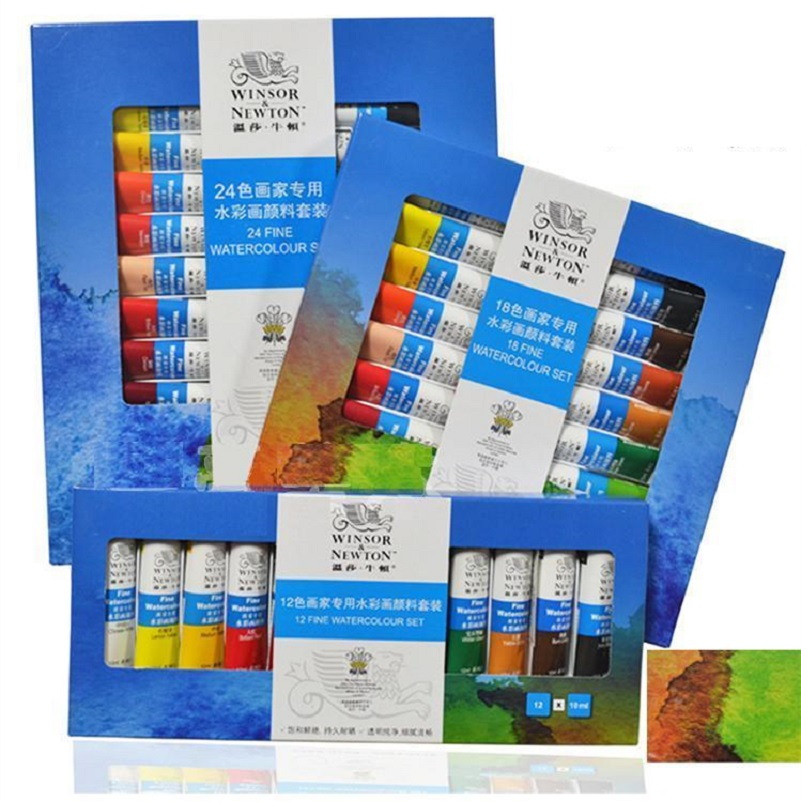 WINSOR&NEWTON 12/18/24 colors Watercolor paints ART painting supplies 10ml/piece alobon 10ml 120