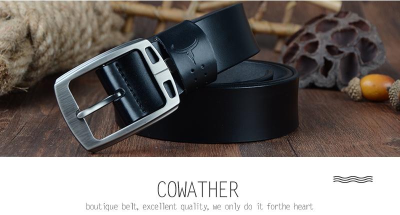 حزام COWATHER جلد طبيعي للرجال 19