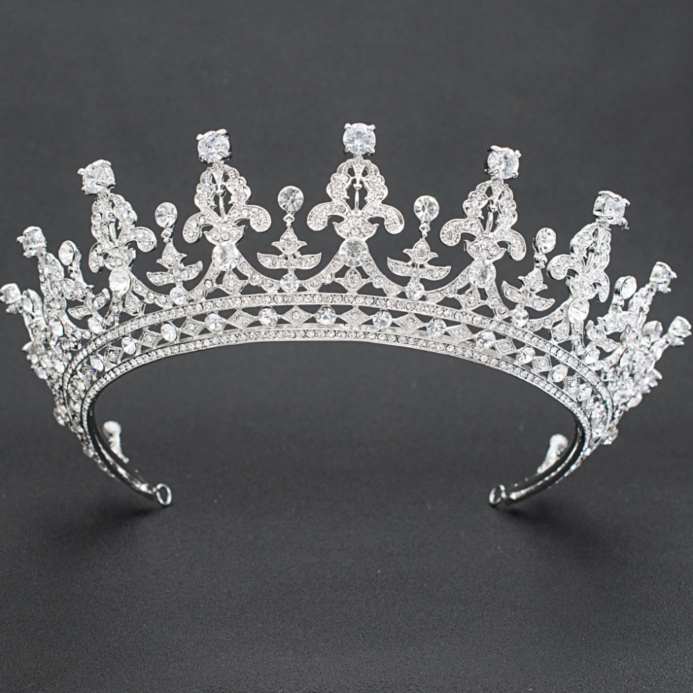 2018 New Rhinestone Crystal 2 3 Round Wedding Bridal Tiara Crown Diadem Women Hair Accessories Jewelry
