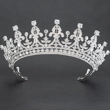 2018 nowy kryształ Rhinestone 2/3 okrągły ślub Diadem dla panny młodej korona Diadem kobiety akcesoria do włosów biżuteria 05365L