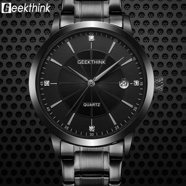 a6bd3f4dfba Esporte militar Marca de Luxo Da Moda Relógio de Quartzo Homens de aço  inoxidável Completa Banda