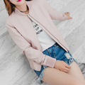 2016 New Fashion Autumn Winter Women Faux Leather Jackets Lady Casual Flight Bomber PU Motorcycle Coat Pink Blue Black Outerwear
