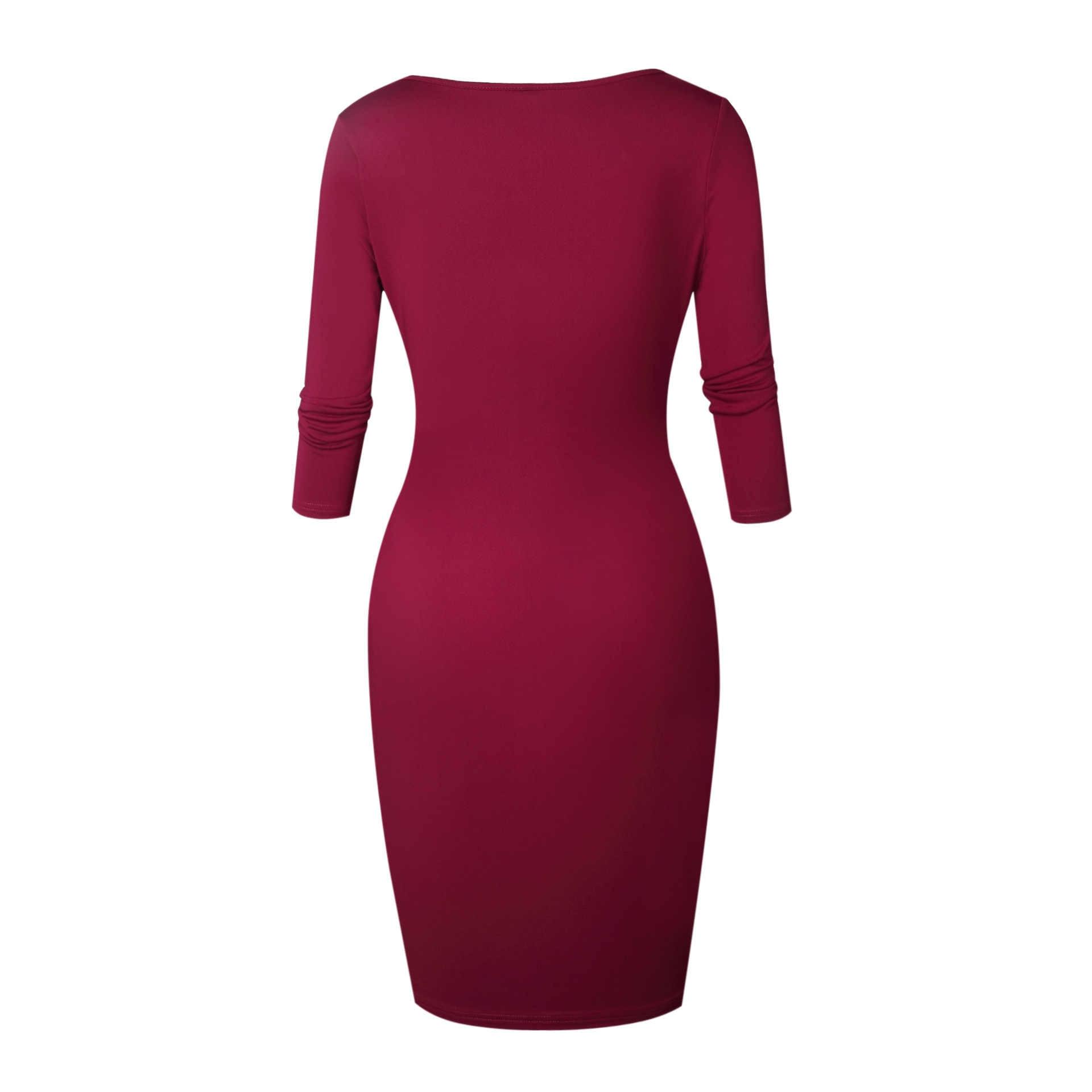 AVODOVAMA M Women Sexy Bodycon Dress New Fashion Low Cut Red Sheath Zipper Office Ladies Party Club Dresses 2019 Spring Summer