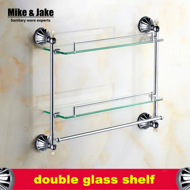 Bathroom Accessories Chrome Finish With Crystal Tempered Glass Shelf,double Glass  Shelf Bathroom Double Shower
