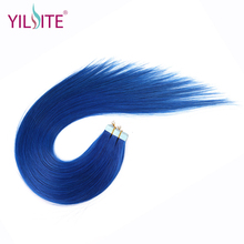 Yilite Hair 20inch 100% Russian Human Tape In Hair Extensions, Blue Color High Light 5pcs/lot Straight Tape Hair Extensions
