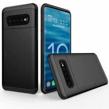 Для samsung Galaxy S10e S9 S8 S10 плюс Hybrid Tough слайд-кошелек карты памяти Броня чехол для примечание 9 8 5 4 Coque S6 S7 край крышки