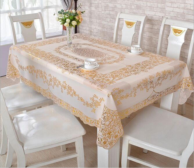 PVC Bronzing Tablecloth Waterproof European Tablecloth Rectangular Non Slip  Mattresses Table Cover Free Shipping  In Tablecloths From Home U0026 Garden On  ...