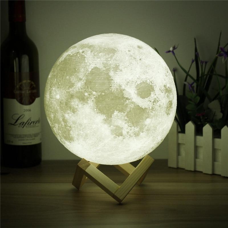 Neuheit 3D Vollmond Lampe LED Nachtlicht USB Wiederaufladbare Farbwechsel Schreibtisch Tischleuchte Wohnkultur 8/10/12/15/18/20 cm