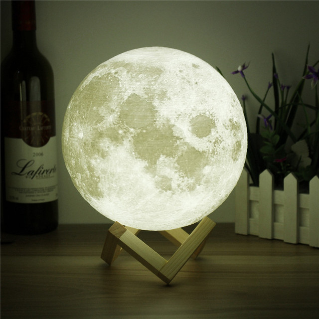 Novelty 3D Full Moon Lamp LED Night Light USB Rechargeable Color Changing Desk Table Light Home Decor 8/10/12/15/18/20cm