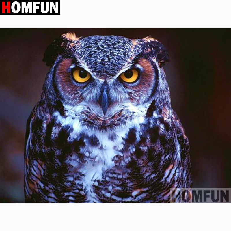 HOMFUN Full Square Round Drill 5D DIY Diamond Painting quot Animal owl quot Embroidery Cross Stitch 3D Home Decor Gift A13200 in Diamond Painting Cross Stitch from Home amp Garden