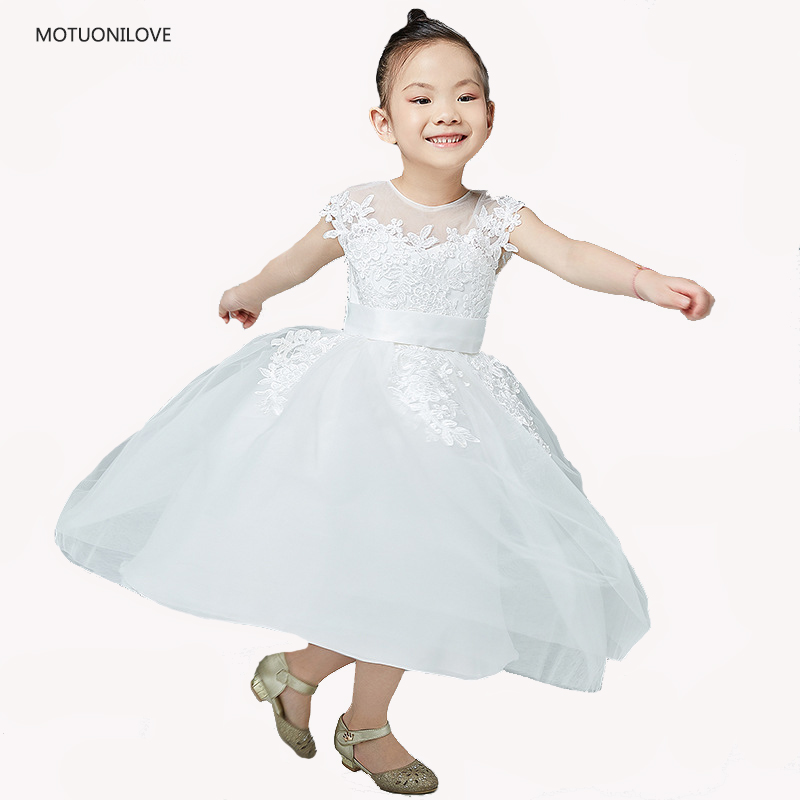 Flower     Girl     Dresses   For Weddings Tea Length Sleeveless Baby   Girls     Dresses   Vestidos Party Children Clothes Birthday Kids   Dresses