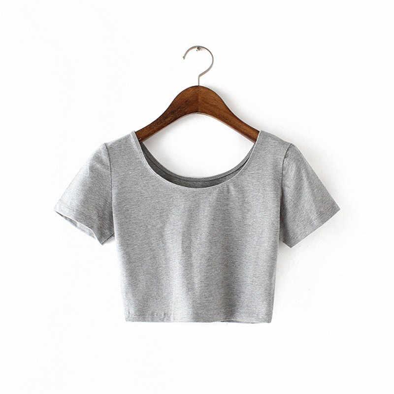 CDJLFH 2019 verano mujeres moda Crop Top camisa Color sólido o-cuello de manga corta Camiseta mujeres Casual camisetas NZ503T1