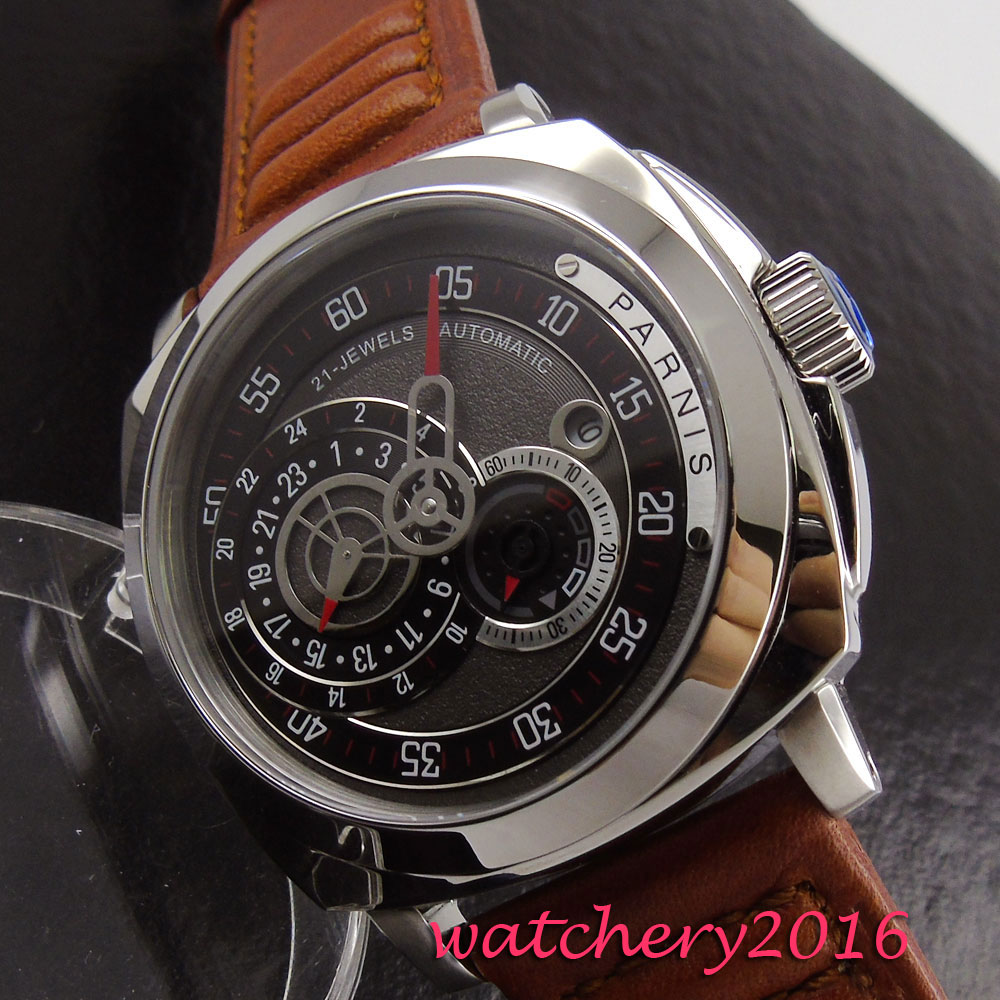 Modisch 44mm Parnis Sapphire Glass black Dial Auto Calendar MIYOTA mens watches top brand luxury automatic mechanical Mens Watch