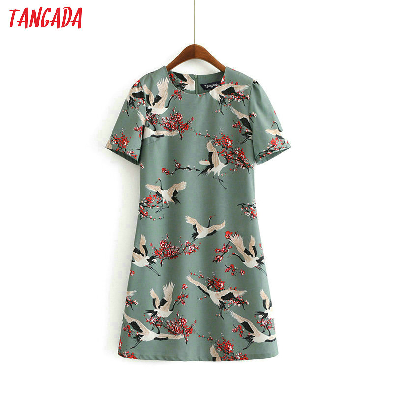 Tangada Women Print Crane Straight Dresses New Arrival 2019 Summer Puff Sleeve Robe Vintage Casual Sundresses AH12