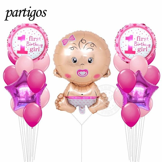 25pcs Lot Round Baby Girl Boy 1st Birthday Balloons Helium Baloes Wedding Decoration Air Globos Shower Supplies
