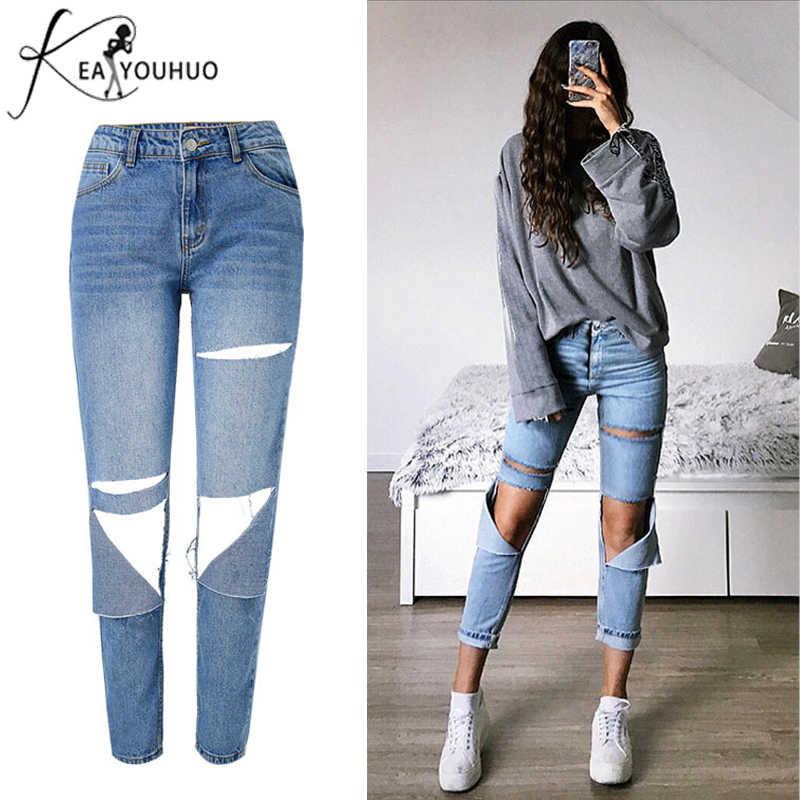 Pantalones Vaqueros Irregulares Rasgados Para Damas Pantalones De Lapiz Con Suavizante De Cintura Alta Regulares Para Mama 2019 Pantalones Vaqueros Aliexpress