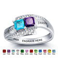 Personalized Ring 925 Sterling Silver Birthstone Name Engrave Romantic Anniversary Wedding Gift Mothers Day Rings (RI101966)