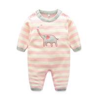 1PC Baby Girl Pink Elephant Bodysuit Soft Green Dinosaur Baby Boy utfit Jumpsuit Stripe Infant Sweater Knitted Cotton Clothes