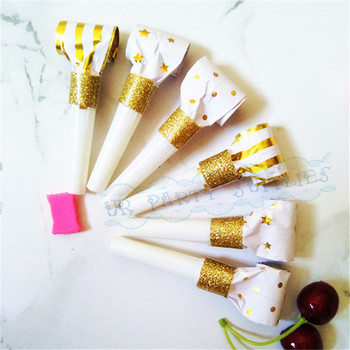 120pcs Gold Party Blowers Sweet Party Horns Festival Noisemakers Kid's Party Blowouts Foil Gold Star/Stripe/Dot Photo Booth Prop