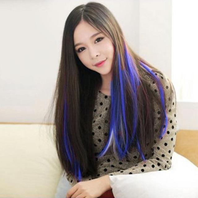 New Women Multi Color Fake Hair Long Straight Synthetic Clip In On