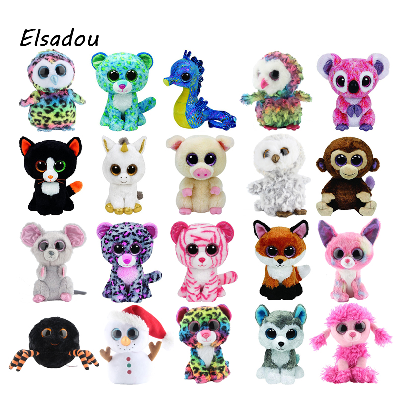 Elsadou Ty Beanie Boos Elephant and Monkey Plush Doll Toys for Girl Rabbit Fox Cute Animal Owl Unicorn Cat Ladybug