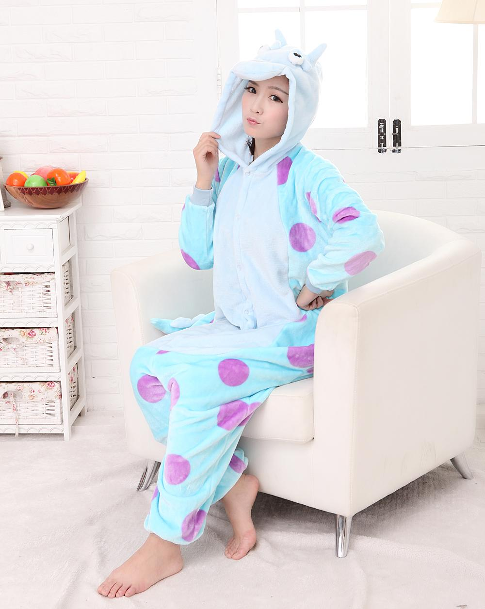 free shipping New Unisex Adult Sully Pajamas Cosplay Costume Animal Onesie Monsters University Mike Sulley SleepwearSize S M LXL