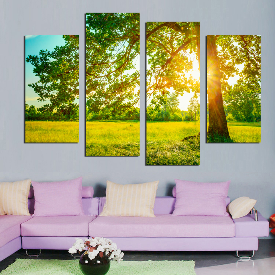 4Panels unframed sun refraction tree lawn Scenery Wall Art Pictures ...