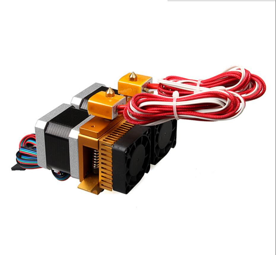 Upgrade MK8 Dual Head Extruder 12V 3D Printers Parts Nozzle 0.3mm 0.4mm Double Hotend Extrusion 1.75mm Filament with Motor Part aluminium v6 heat block for reprap j head extruder hotend 3d printers parts heater hot end heating accessories 20 16 12 mm part
