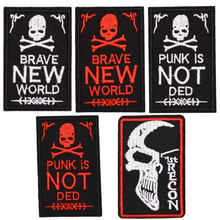 Brave new world Embroidery patch Punk is not ded Iron on patches For clothing Badges Stickers Appliques wholesale(China)
