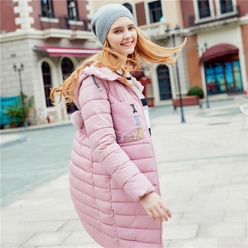 2017 Long Candy color Slim Cotton Autumn Winter Women Coat Jackets Puffer   Parkas   Mujer Pink Black Invierno Clothing Student