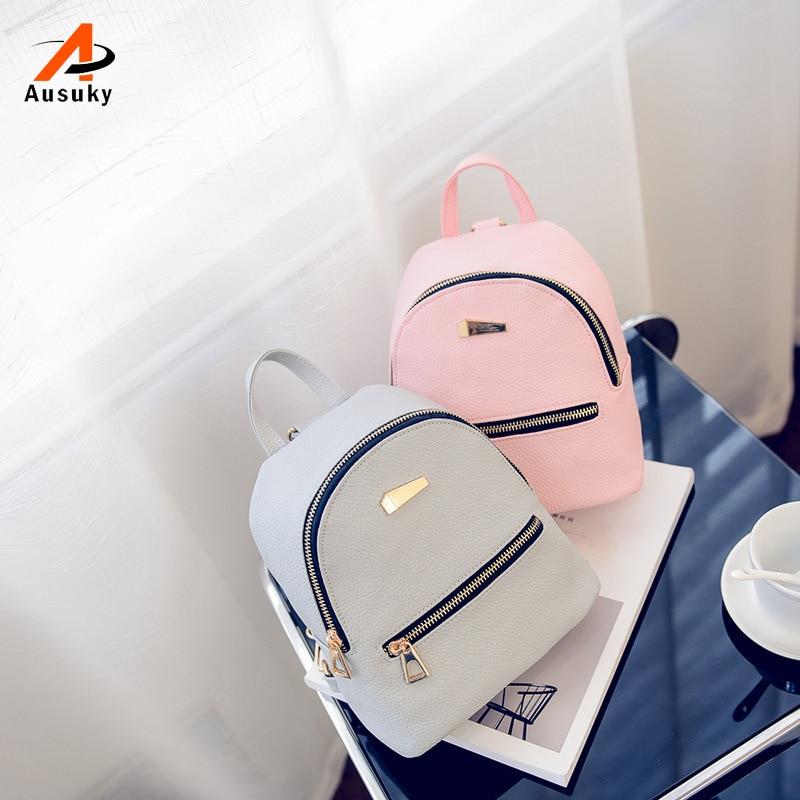 0c99b0eba980a Yeni Kadın Küçük Sırt Çantaları Deri Okul gençler için çanta Kızlar omuz  çantaları Seyahat Rahat Taş Bolsas Mochilas Femininas 45