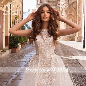 Image 5 - Odpinany pociąg suknia ślubna 2020 Sexy 2 w 1 syrenka Swanskirt aplikacje koronki kryształowy pas suknia ślubna vestido de noiva LZ07