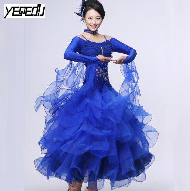 #2209 Современная Танцевальный костюм без бретелек с длинными рукавами Цветок роскошный набор платья Костюмы для бальных танцев Танцы Конкуренции Платья