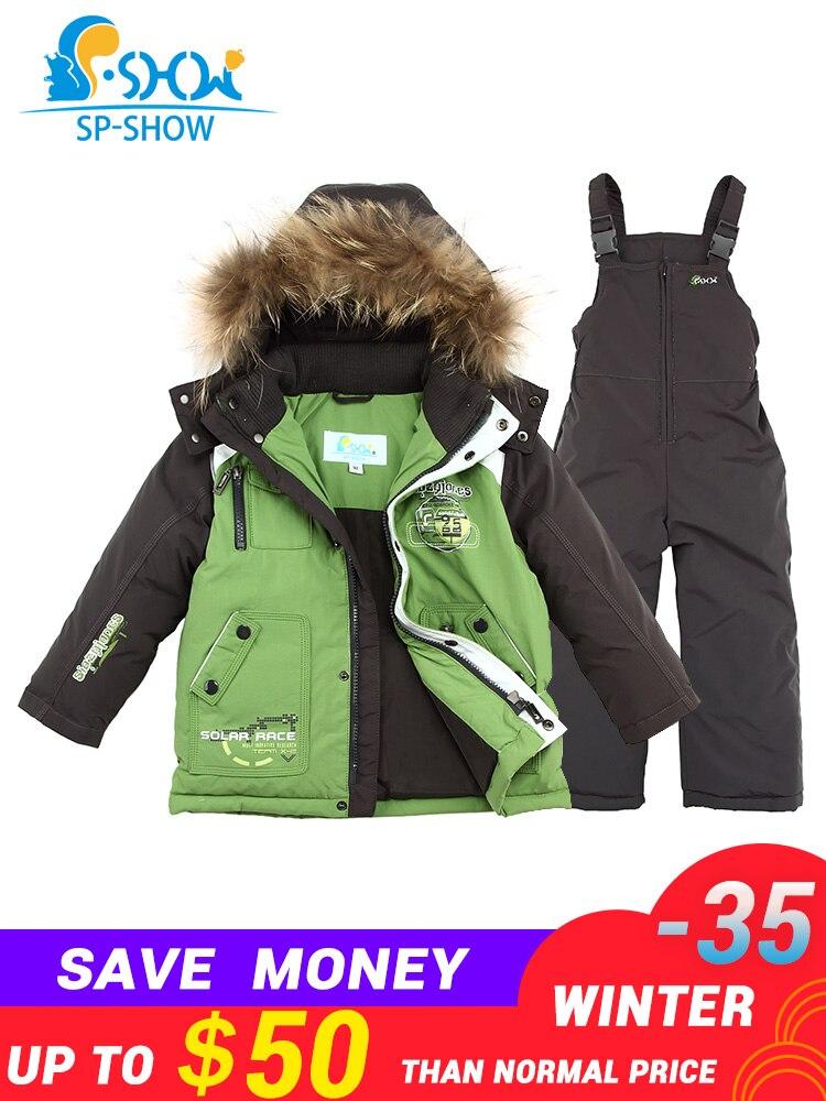 2019 SP-SHOW Luxo Marca Crianças terno de Inverno das Crianças Jaqueta Menino e Menina Casacos Crianças Conjuntos de Roupas de Esqui Para Baixo & parkas 0167