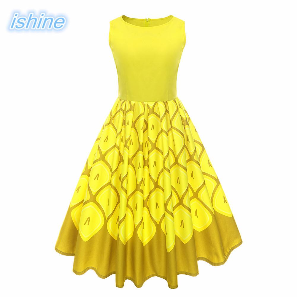 Detail Feedback Questions about Yellow Women Retro Dress 2018 New 50s 60s Vintage  Dresses Print Sleeveless Spring Summer Dress Rockabilly Swing Party Gown ... 303eafa0d34d