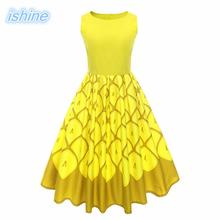 Yellow Women Retro Dress 2018 New 50s 60s Vintage Dresses Print Sleeveless Spring Summer Dress Rockabilly Swing Party Gown