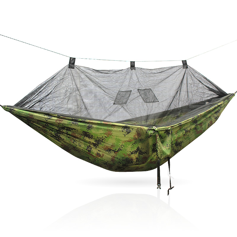 Popular Brand 260x140cm Portable Parachute Fabric Camping Hammock Hanging Bed With Mosquito Net Sleeping Hammock Outdoor Hamaca Warm And Windproof Camping & Hiking