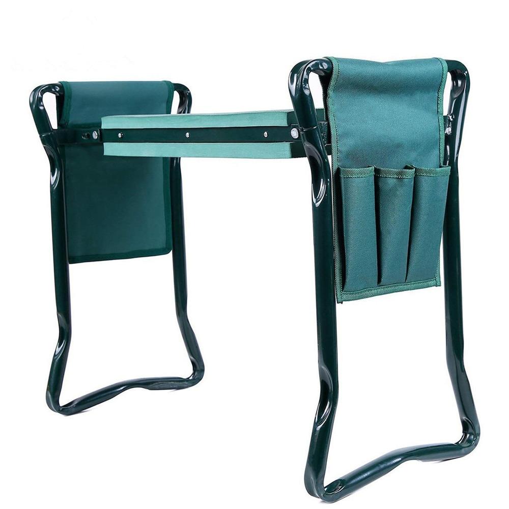 Garden-Seat Folding with Tool-Bag EVA Kneeling-Pad Convenient Stainless-Steel 1set