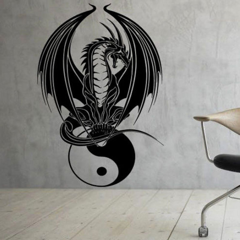 HOME Decoration Wall Paper Art viny removable Sticker Chinese Dragon Yin Yang Laptop Vinyl Decal E529