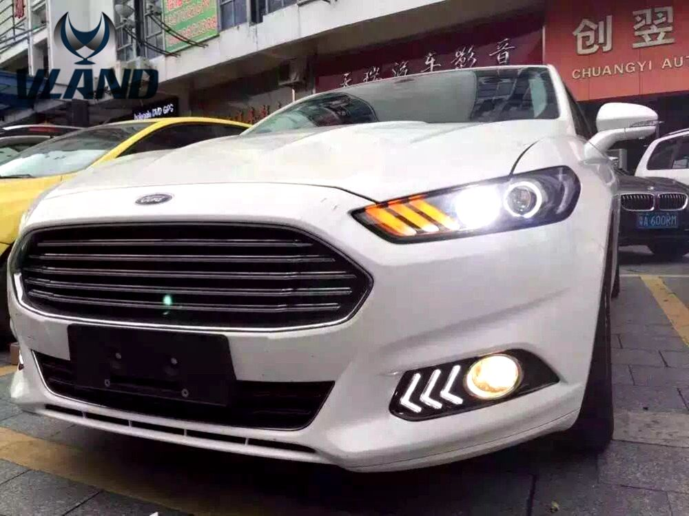 Free shipping vland Factory headlamp car parts for Mondeo headlight led bar 2012 2013 2014 angel eyes and plug and play design