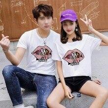 vogue Couple Style tshirt Lip Pattern Print tops Short-sleeved shirts Summer Loose  Casual T-shirt