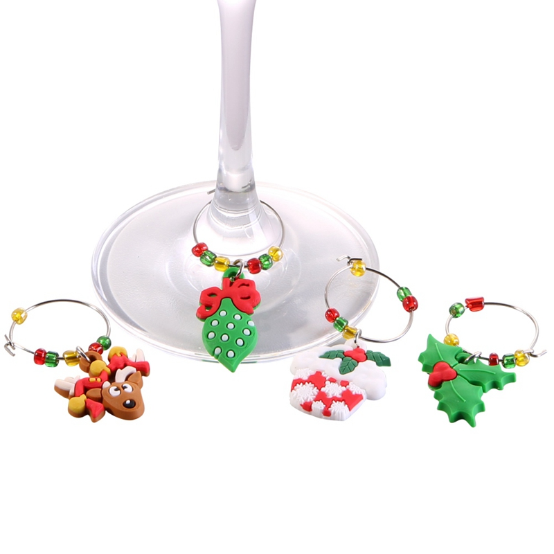 6 Pcs//Set Christmas Cup Ring Wine Glass Decoration Charms Party for Home Pendant
