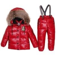 30Degree Down Jacket For Boys Girls Kids Snowsuits Child's Winter Jackets Children Clothing Set Children Outwear Overalls Parka