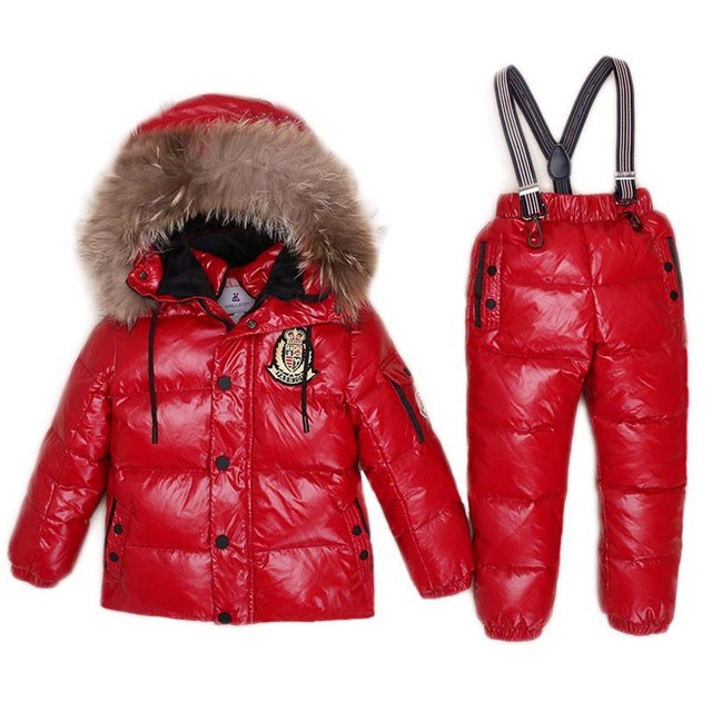 Special Price -30Degree Down Jacket For Boys Girls Kids Snowsuits Child's Winter Jackets Children Clothing Set Children Outwear Overalls Parka