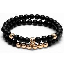 Doble Capa Pulseras de Perlas de 6mm cuentas de piedra Natural pulsera de Múltiples Capas de Ágata Pulsera Para La Mujer Hombre Pulseras Mujer