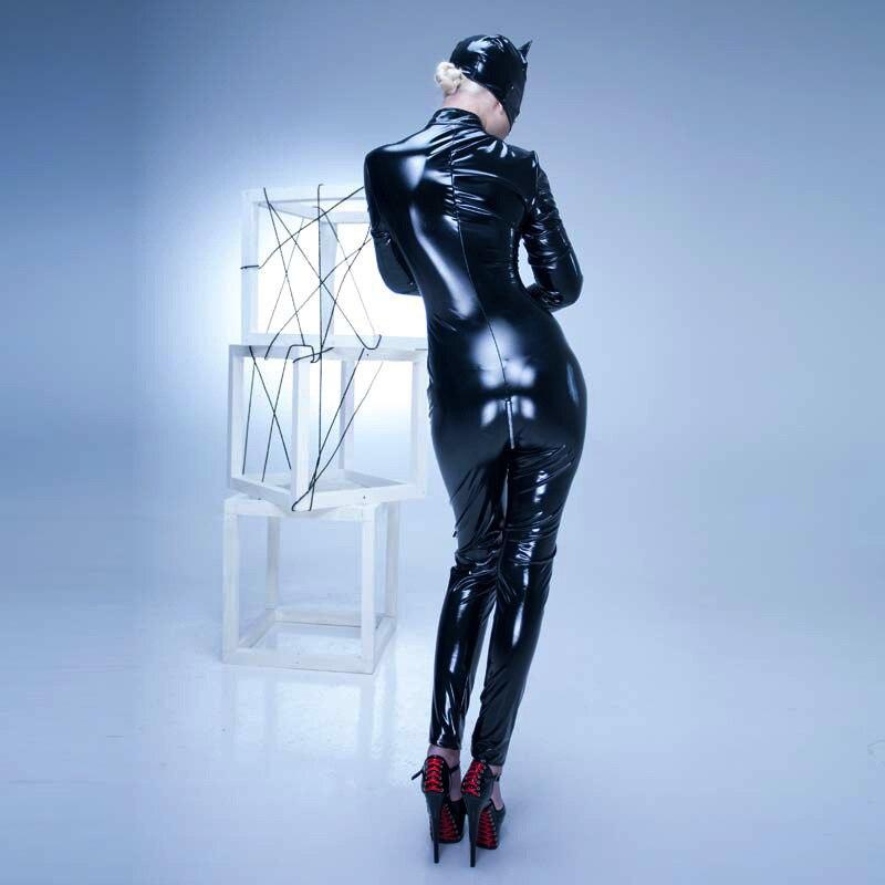 Combinaison en Latex Lingerie Sexy body en Pvc pour femme Lingerie érotique jeu Sexy combinaison en cuir brillant PVC combinaison de danse en Tube d'acier - 5