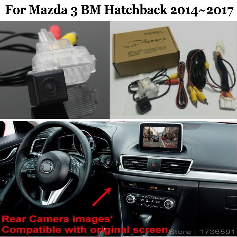 Tylna kamera samochodowa zestawy dla Mazda 3 Mazda3 BM Hatchback 2014 ~ 2017 RCA i oryginalny ekran kompatybilny tylna kamera cofania samochodu
